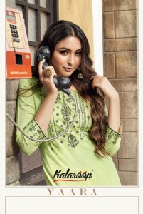 KALAROOP YAARA RAYON CATCHY LOOK KURTI WITH PLAZZO CATALOG