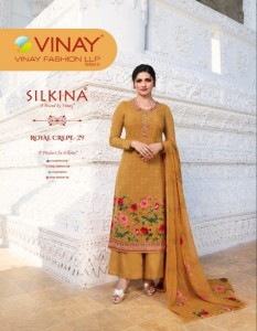 VINAY FASHION SILKINA ROYAL CREPE 29 EMBROIDERED SALWAR SUITS MATERIAL EXPORTER