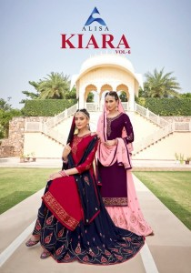 ALISA FASHION LAUNCHED KIARA VOL 6 SATIN GEORGETTE WITH HAND WORK LONG FANCY SALWAR SUITS