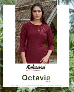 KALAROOP KAJREE PRESENTS OCTAVIA VOL 3 LINING SILK WITH FANCY HAND WORK KURTIS AND PANTS