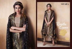 NITARA LAUNCHED LOTUS ART DOLA SILK LATEST COLLECTIONS GOWN STYLE KURTI WITH CAPE JACKET STYLE DUPATTA