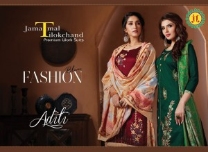 JT PRESENTS ADITI PURE JAM EMBROIDERY WORK SALWAR SUITS WHOLESALER