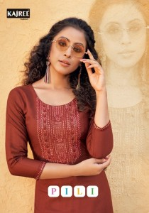 KALAROOP KAJREE PRESENTS PILI FANCY LINING WITH WORK KURTIS