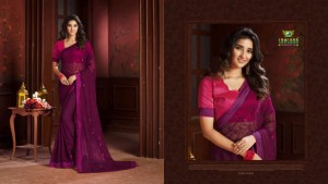 SANSKAR FLOREAL CHIFFON WITH EMBROIDERY WORK SAREE LOOKING BEAUTIFUL