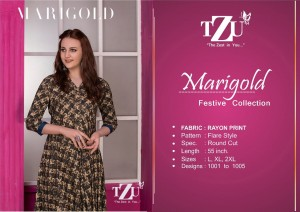 TZU MARIGOLD RAYON CLASSIC TRENDY LOOK LONG KURTI CATALOGUE