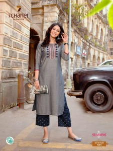 7 CHANEL PRESENTING SEASONS PURE COTTON KURTI WITH EMBROIDERY WORK PANT SELLER