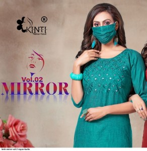 MIRROR VOL 2 BY KINTI RAYON CASUAL WEAR KURTI WITH MATCHING FREE MASK TRADER