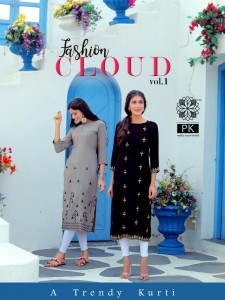 PK LAUNCHED FASHION CLOUD VOL 1 RAYON FANCY WORK WITH LIVA TAG KURTIS WHOLESALE DELAR SURAT