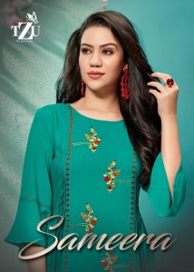 TZU PRESENTING SAMEERA RAYON EMBROIDERY WORK KURTI WITH SHARARA PATTERN