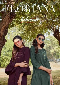 KALAROOP FLORIANA LINING WITH FANCY HAND WORK KURTIS WHOLESALE CATALOGUE