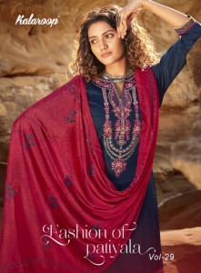 KALAROOP FASHION OF PATIYLA VOL 29 JAM SILK EXCLUSIVE COLOURS CHINHON WITH FANCY WORK KURTI BOTTOM WITH DUPATTA CATALOGE WHOLESALER