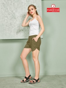 PAHERVESH LUCY RAYON FLAX COMFORT SHORTS CATALOGUE IN WHOLESALE PRICES