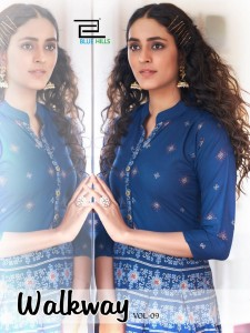 BLUE HILLS WALKWAY VOL 9 RAYON WITH FOIL PRINT GOWN STYLE KURTIS WHOLESALE CATALOGUE
