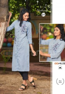 100 MILES HANDICRAFT COTTON REGAL LOOK KURTI CATALOGUE