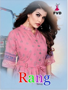 FASHION VALLEY DRESSES RANG VOL 3 REYON INNOVATIVE STYLE LONG KURTI CATALOGUE