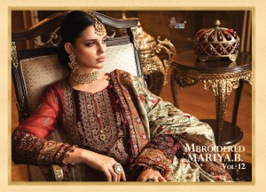 SHREE FABS MBROIDERED MARIYA B VOL 12 PURE ORGANZA WITH HEAVY EMBROIDERY WORK PAKISTANI SUITS WHOLESALE CATALOGUE SUPPLIER