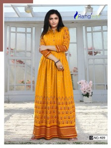 RANGJYOT SHEHAAZ VOL 4 RAYON GOLD PRINTED LONG GOWN WHOLESALER