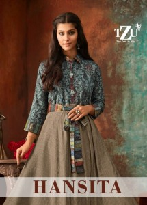 TZU LIFESTYLE HANSITA MUSLIN LINEN CHANDERI FABRIC WITH HAND WORK LONG TYPE KURTIS WHOLESALE CATALOGUE