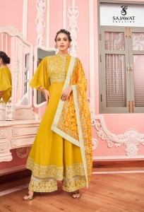 SAJAWAT CREATION PRESENTS SARTHI NX VOL 12 MASLIN WITH HEAVY EMBROIDERY WORK LONG TYPE KURTIS WHOLESALE CATALOGUE