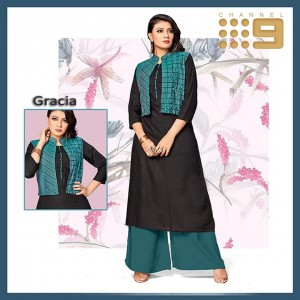 CHANNEL 9 PRESENTS GRACIA RAYON SLUB WITH EMBROIDERED JACKETS KURTIS WHOLESALE CATALOGUE