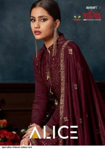 VIPUL ALICE PURE CHINON WITH HAND WORK FESTIVAL AND WEDDING WEAR SALWAR SUITS TRADER