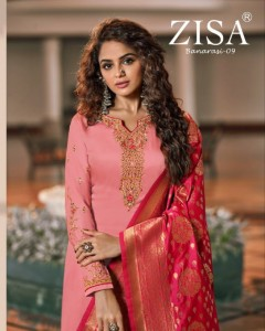 MEERA TRENDZ ZISA BANARASI VOL 9 SATIN GEORGETTE FESTIVAL WEAR SALWAR SUITS CATALOGUE WHOLESALE