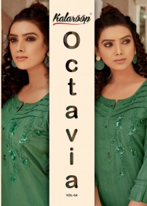 KALAROOP OVTAVIA VOL 4 SILK CLASSIC TRENDY LOOK KURTI CATALOGUE WHOLESALE