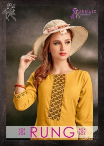 DEHLIZ TRENDS RUNG STYLISH LOOK BEAUTIFULLY DESIGNED KURTIES WHOLESALE CATALOGUE
