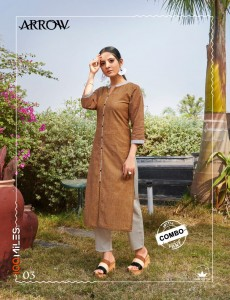 100 MILES ARROW AFFORDABLE PRICE PURE COTTON PATTERNED KURTIS WITH COMBO PANTS WHOLESALE CATALOGUE
