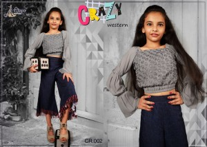 ADM PRESENTS CRAZY CHILDREN GEORGETTE DESIGNER TOP WITH PANT CHILDREN COLLECTION WHOLESALE