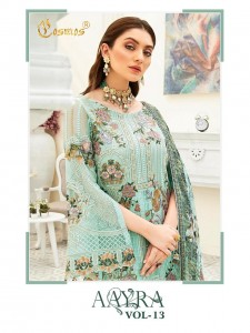 AAYRA VOL 13 BY COSMOS FASHION GEORGETTE WITH EMBROIDERY WORK PAKISTANI SUITS CONCEPT WHOLESALER