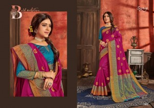 SHUBH MUHURAT VOL 2 BY SAROJ COTTON SILK EMBROIDERY WORK DESIGNER SAREE AT WHOLESALE RATE
