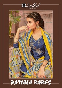 ZULFAT DESIGNER SUITS LAUNCHED PATIALA BABES PURE COTTON PRINT WITH HEAVY EMBROIDERY SALWAR SUITS WHOLESALE CATALOGUE