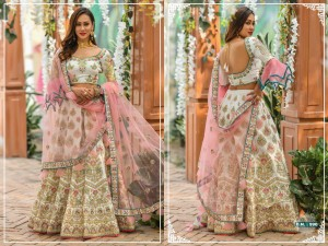 PEAFOWL VOL 57 DESIGN NO.990 HEAVY DESIGNER SILK WITH HEAVY EMBROIDERY WORK BRIDAL WEDDING LEHENGA COLLECTION AT WHOLESALE RATE