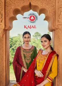 TRIPLE AAA PRESENTS KAJAL JAM SILK WITH EMBROIDERY WORK SALWAR SUITS WHOLESALE CATALOGUE