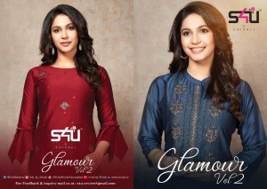 S4U BY SHIVALI GLAMOUR VOL 2 CHINON SILK GORGEOUS LOOK KURTI CATALOGUE AT WHOLESALE PRICE