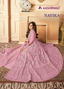 AASHIRWAD PRESENTS NAVIKA PREMIUM NET LONG GOWN STYLE DESIGNER PARTY WEAR LEHENGAS OR SUITS WHOLESALER