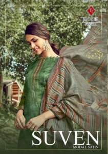TANISHK FASHION SUVEN PURE MODAL SATIN DIGITAL PRINT WITH WORK LATEST DRESS MATERIALS AT WHOLESALE RATE