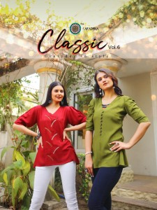 ARADHNA LAUNCHED CLASSIC VOL 6 HEAVY RAYON WITH EMBROIDERY WORK FANCY SHORT TOPS AT WHOLESALE RATE
