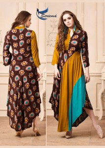 SERIEMA LAUNCHED KUMB GLAMOUR HEAVY RAYON PRINT LONG GOWN STYLE KURTIS AT WHOLESALE RATE