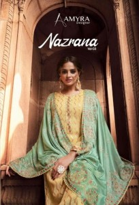 AMYRA DESIGNER PRESENTS NAZRANA VOL 3 VISCOSE CHINON WITH EXCLUSIVE EMBROIDERY WORK SALWAR SUITS WHOLESALE CATALOGUE