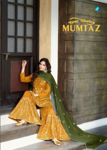YOUR CHOICE MUMTAZ SILK CHINON WITH SHARARA GHARARA PATERN SALWAR SUITS AT WHOLESALE RATE