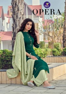 VITARA FASHION LAUNCHED OPERA HEAVY CHINON WITH HANDWORK KURTIS AND PLAZZOS WHOLESALE CATALOGUE