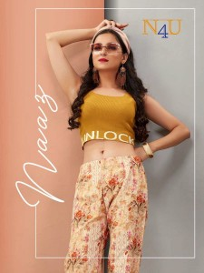 TUNIC HOUSE N4U LAUNCHED NAAZ PANT COTTON FLEX PRINTED READYMADE WESTERN DRESS WHOLESALE CATALOGUE