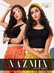 TUNIC HOUSE N4U PRESENTS NAZMIN RAYON PRINT DHOTI STYLE FANCY DESIGNER BOTTOMS CATALOGUE AT WHOLESALE RATE