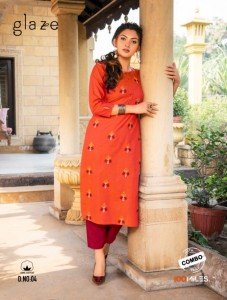 100 MILES GLAZE COTTON CASUAL WEAR KURTI WITH BOTTOM WHOLESALE CATALOGUE