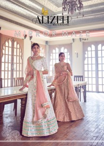 ALIZEH MIRROR MAZE VOL 1 EMBROIDERY PARTY WEAR LEHENGA CHOLI WHOLESALE CATALOGUE
