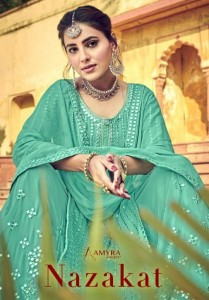 AMYRA DESIGNER NAZAKAT HEAVY GEORGETTE WITH MIRROR EMBROIDERY WORK SALWAR SUITS WHOLESALE CATALOGUE