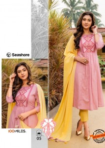 100 MILES SEASHORE COTTON ELEGANT LOOK KURTI WITH PANTS AND DUPATTA WHOLESALE CATALOGUE
