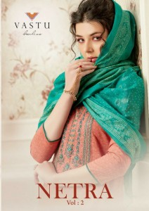 VASTU TEX NETRA VOL 2 LAWN COTTON PRINT WITH HEAVY WORK SALWAR SUITS WHOLESALE CATALOGUE